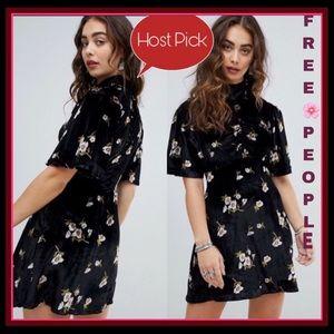 NWT FREE PEOPLE BLK VELVET FLORAL DRESS